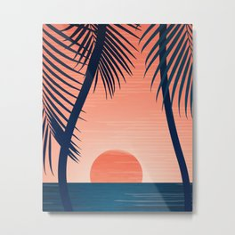 Sunset Palms - Peach Navy Palette Metal Print