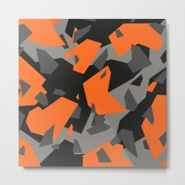 Black\Grey\Orange Geometric camo Metal Print