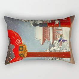 Tsuchiya Koitsu A Winter Day at The Temple Asakusa Vintage Japanese Woodblock Print Rectangular Pillow