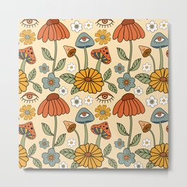 70s Psychedelic Mushrooms & Florals Metal Print