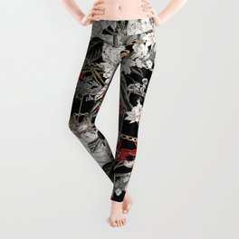 Artistic Vintage Mix Flowers With Chains Leggings