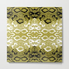 Snake skin scales texture. Seamless pattern black yellow gold white background. simple ornament Metal Print