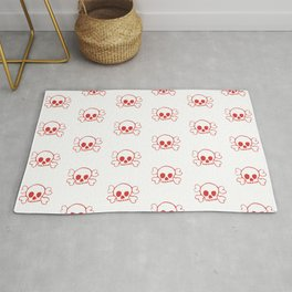 Red Crossbones and Skull Print and Pattern Rug