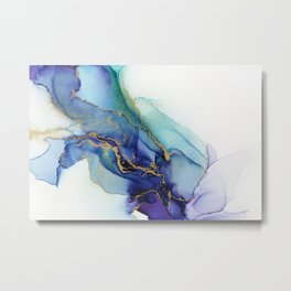 Electric Waves Violet Turquoise - Part 1 Metal Print