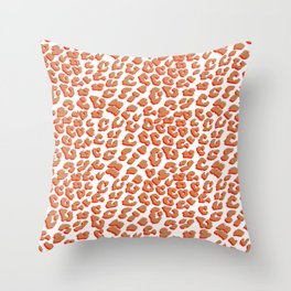 Orange Red Leopard Print Throw Pillow
