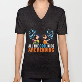 All The Cool Kids Are Reading Unisex V-Neck