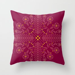 Floral Folk Throw Pillow