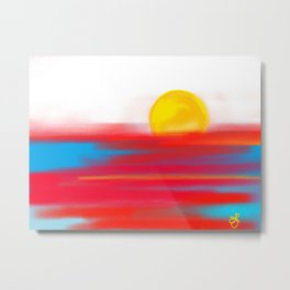 Sketchy Sun and Sea. Sunset and Sunrise Sketch Metal Print