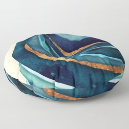 Abstract Blue with Gold Floor Pillow