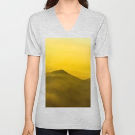 Mountains in clouds - like painting, defocused, abstract stock photo Unisex V-Neck