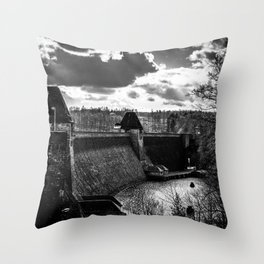 Möhne Reservoir Barrage Wall Sauerland Germany bw Throw Pillow