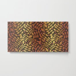 classic golden leaves , abstract gold foil leaves on black , with red geometric shapes Metal Print