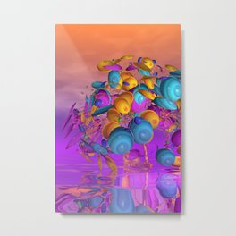 violet and orange and turquoise Metal Print