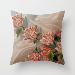 """""""Coral flowers on white silk"""" (Air Spring) Throw Pillow"""