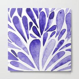 Watercolor artistic drops - electric blue Metal Print