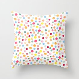 Colorful Watercolour Spots Throw Pillow