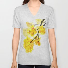 yellow trumpet trees watercolor yellow roble flowers yellow Tabebuia Unisex V-Neck