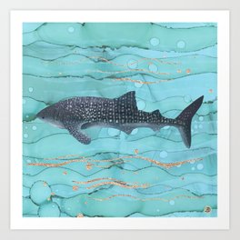 Whale Shark Swimming in the Emerald Ocean Art Print