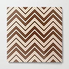 Retro Zigzag Pattern Cream Rust Brown Metal Print