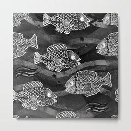 Monochrome fish pattern dark Metal Print