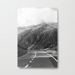 Lonely road in Switzerland   moody travel photography Metal Print