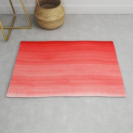 Bold Fire Engine Red - Light Pink Watercolor Horizontal Brush Gradient Stripe Pattern Rug