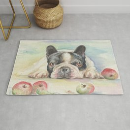 FRENCH BULLDOG with Apples Watercolor painting Rug