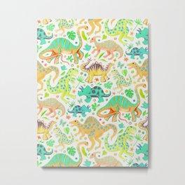 Happy Dinos - citrus colors Metal Print