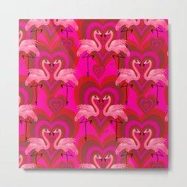 Retro Mod Flamingo Love Pattern Metal Print