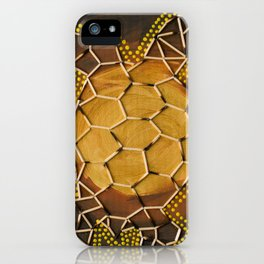Golden Tortoise by Australian Artist Vidy Potdar – Acrylic Painting on Canvas iPhone Case