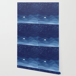 blue ocean waves, sailboat ocean stars Wallpaper