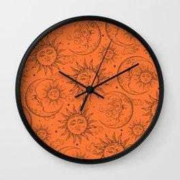 Orange Magic Celestial Sun Moon Stars Wall Clock