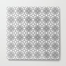 Black and White Clover Pattern Design Metal Print