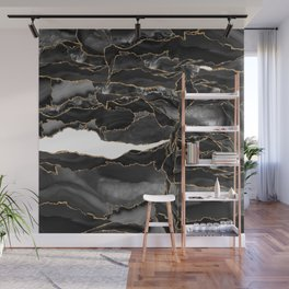 Black and Gold Agate Wall Mural