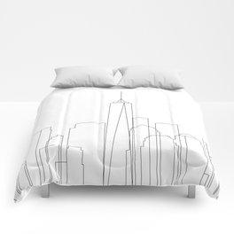 New York City Skyline Outline Comforters
