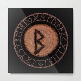 Berkano Elder Futhark Rune secrecy, silence, safety, mature wisdom, dependence, female fertility Metal Print