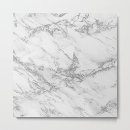 Elegant chic white gray silver glitter marble Metal Print