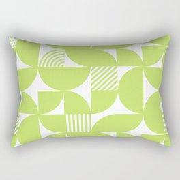 Lime Green Mid Century Bauhaus Semi Circle Pattern Rectangular Pillow