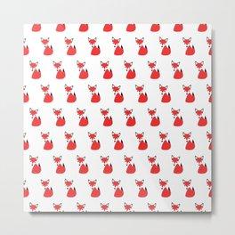 Cute Little Funky Fox Cartoon Pattern All In A Row Metal Print