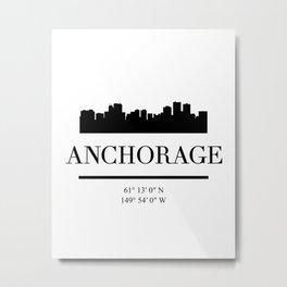 ANCHORAGE ALASKA BLACK SILHOUETTE SKYLINE ART Metal Print