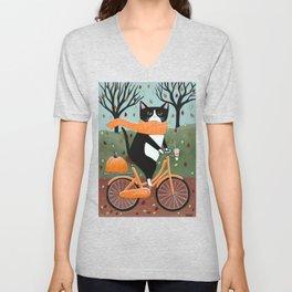 Tuxedo Cat Autumn Bicycle Ride Unisex V-Neck