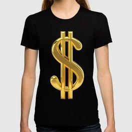 Gold Dollar Sign Black Background T-shirt