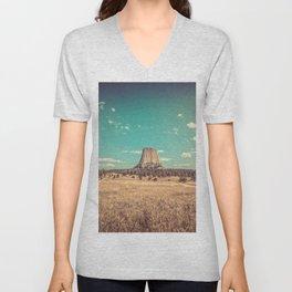 Devil's Tower National Monument Wyoming Unisex V-Neck