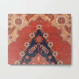Southwest Tuscan Shapes III // 18th Century Aged Dark Blue Redish Yellow Colorful Ornate Rug Pattern Metal Print