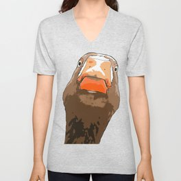 Brown Duck With Expresssive Face Cartoon Style Unisex V-Neck