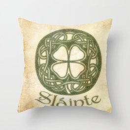 Slainte or To Your Health Throw Pillow