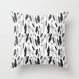 raphic pattern feathers on a white background Throw Pillow
