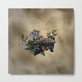 Awesome steampunk design with airship and flowers Metal Print