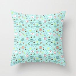 Vintage Pastel Teacups Tea Party Pattern Throw Pillow