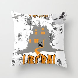 Scary Liberal Witch Funny Social Worker Halloween Throw Pillow